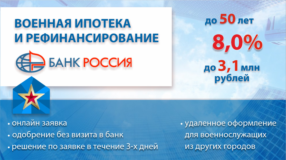 Рефинансирование военной ипотеки в Банке РОССИЯ. Молодострой Ру mlds.ru